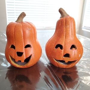 2 pc Ceramic Pumpkin Candle Holders 🎃